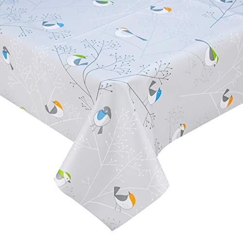 LOHASCASA Vinyl Oilcloth Tablecloth Rectangle Wipeable Peva Waterproof PVC Heavy Duty Stainproof Spillproof Large Tablecloth Farm Thanksgiving Banquet BBQ Bird 9 ft 54 x 108 Inch ()