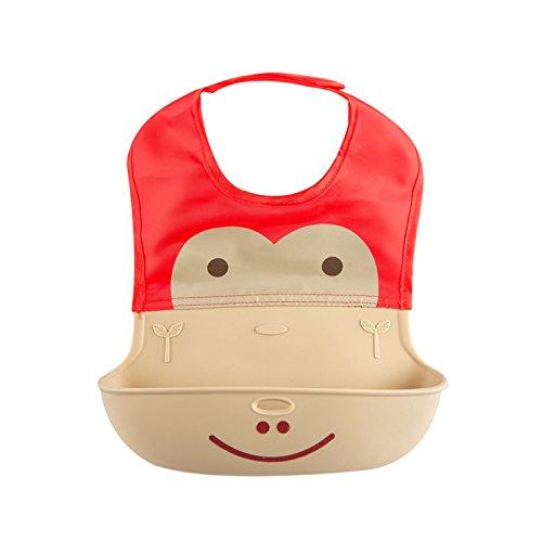 3D Design Baby Bibs Waterproof Silicone Baby Feeding Bib, Soft and Comfortable Baby Bandana Drool Bibs(Red)