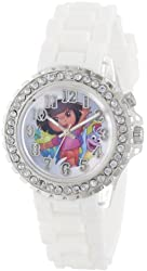 Nickelodeon Kids' DOR9018 Dora the Explorer Silver-Tone Watch with White Band