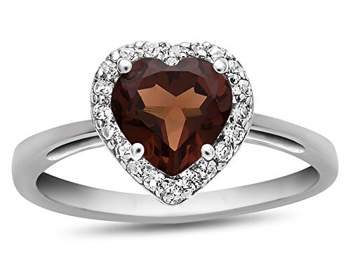 Finejewelers 10k White Gold 6mm Heart Shaped Garnet with White Topaz accent stones Halo Ring Size - 6 Mm Heart Garnet