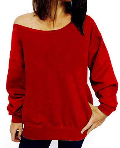 (lymanchi Women Off The Shoulder Sexy Sweatshirt Pullover Long Sleeve Baggy Shirt 107 Red XL)