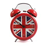 Vintage Alarm Clock British London Flag Table Desk Alarm Clock No Ticking Kids Children Clock,Red Color
