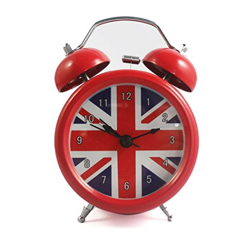 British Clock (Vintage Alarm Clock British London Flag Table Desk Alarm Clock No Ticking Kids Children Clock,Red Color)