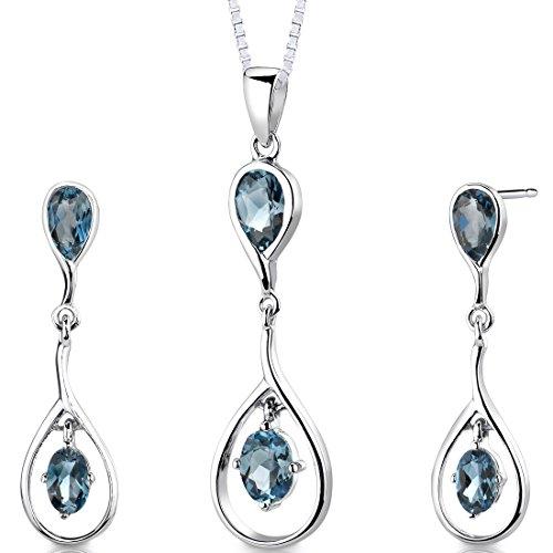 """Peora Bague-Argent 925/1000 Rhodié 9,5 carats Poids total de forme ovale topaze bleu londres Boucles d'oreille pendeloque et 18 """"Collier"""