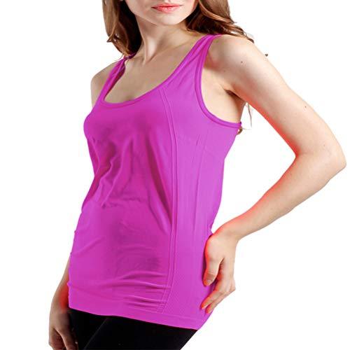 BollyQueena Long Tank Tops Plus Size, Women's Nylon Workout Tanks Purple XXL -