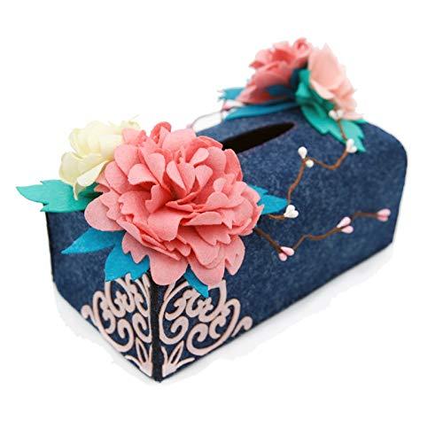 Maslin Lovely Flower Style Felt Applique Tissue Box Handmade Sewing Art Modern Home Decor Easy Assembling Felt DIY Material Package