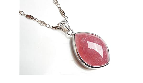 LiZiFang Genuine Natural Ice Rhodochrosite Gemstone Crystal Water Drop Bead Woman Pendant AAAA