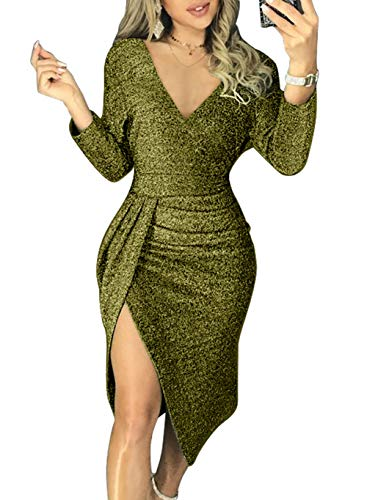HUUSA Sexy Prom Cocktail Sequin Dresses Party for Womens V Neck Formal Winter Wedding Evening Gowns Metallic Elegant Dress Small Green