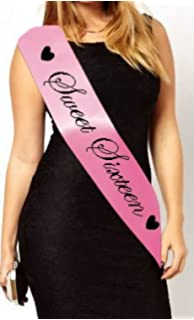 Pink 16th Birthday Satin Sashes Sweet 16 Gifts Light Up Flashing Girls Party