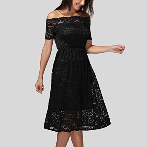Vintage Kleider Partykleid Damen, ZIYOU Spitze Kurzarm Trägerloser Kleider  Elegant Sommer Böhmisches Abendkleid Strandkleid Schwarz ... 1b6219b37b