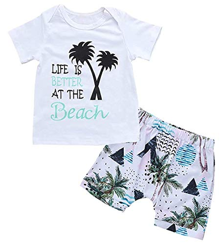 2PcsToddler Baby Boys Outfits Set,Sleeveless Cartoon Shark Print Vest Top Short Pants Suit (White, 12-18m) (Cotton Print Vest)