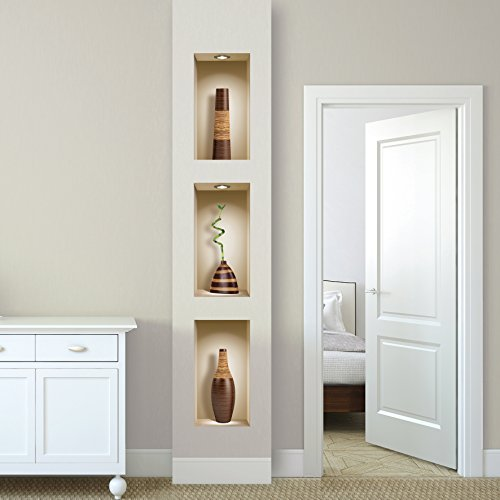 The Nisha Art Magic 3D Vinyl Removable Wall Sticker Decals DIY, Set of 3, Brown Vases by the Nisha (Image #7)