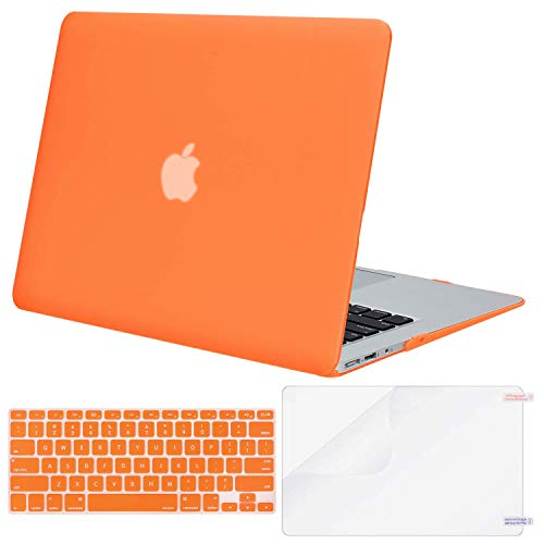 MOSISO Plastic Hard Case & Keyboard Cover & Screen Protector Only Compatible MacBook Air 13 Inch (Models: A1369 & A1466, Older Version 2010-2017 Release), Orange
