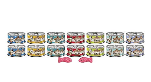 Merrick Grain Free Cat Food-Purrfect Bistro Canned Cat Food 7 Flavors 14 Cans 1 Can Lid 2 Cat Toys