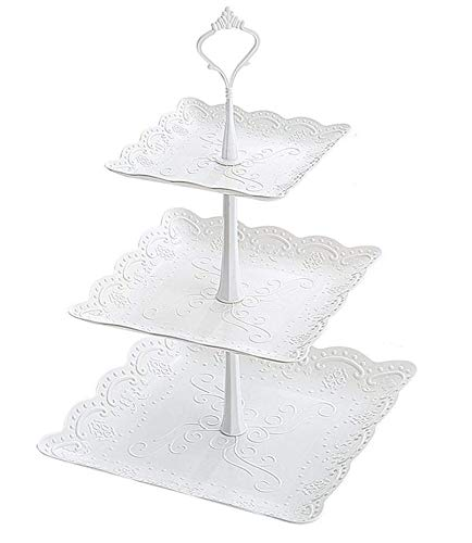 3 Tier Cake Stand Square Fruit Plate - Plastic Mini Cupcake Stand and Towers Tiered Display White Serving Platter Bases for Desserts Candy Station Donut Tower Wedding Buffet Birthday Party by WATBOB