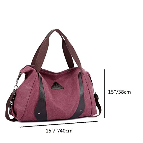 ZENTEII Frauen Leinen Handtasche Schultertasche Rot