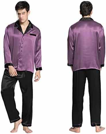 0f40ab4f9f Wigeo Pajamas Set Men Sleepwear Summer Nightwear Pure Chinese Silk Pure 22  Momme Black Cuff Male