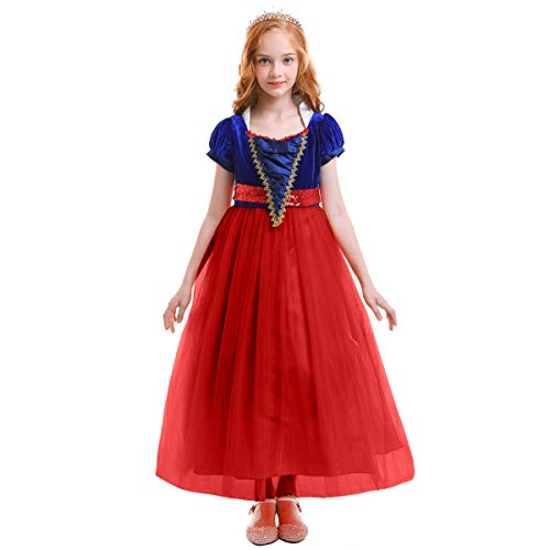 Girls Princess Snow White Costume Dress Velvet Sequins Halloween Party Fancy Dressing up Cosplay Cartoon Queen Transforming Dress Pageant Long Dresses Gown for Kids Birthday Red -