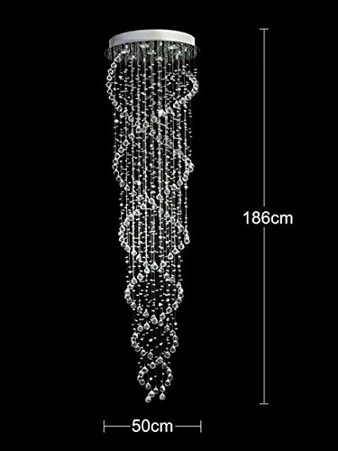 HAIXIANG Modern Contemporary Luxury Crystal Chandelier Long Double Spiral Rain Drop Decoration For Foyer Living Room Fixtures by HAIXIANG (Image #1)