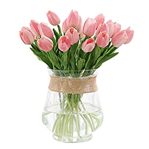 TtMarket 15 pcs Artificial Tulips Real Touch Fake Flowers Artificial Flowers PU Artificial Tulips Flowers Arrangement Bouquet for Home Room Office Wedding Party (Pink) 37