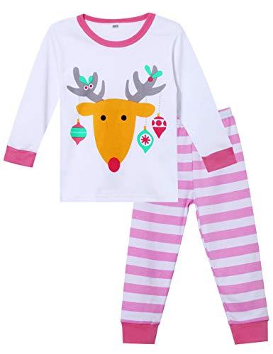 Jashe Toddler Kids Xmas 2 Piece Pajama Baby Boys Girls Unisex Santa & Reindeer 100% Cotton Sleepwear PJS