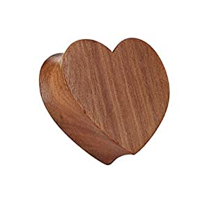 Paula & Fritz® Plug Double Flared de madera de rosal Forma de Corazón 8mm PSM043_ 8[joyería]