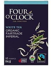 Four O'Clock Organic Fairtrade White Tea Imperial, Non-GMO, Kosher, Gluten-Free, 16 Count, 24g