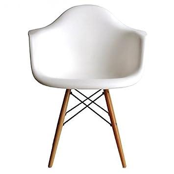Amazon.com: Ariel DAW de plástico blanco Sillón con patas de ...