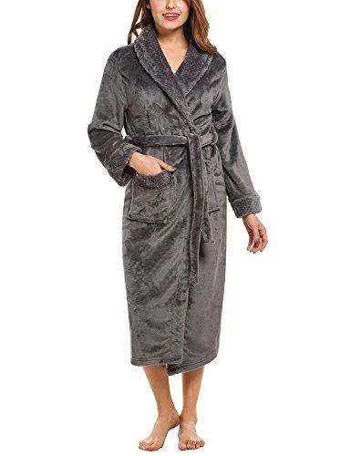 HOTOUCH Sleepwear Women's Plush Robe Gray M