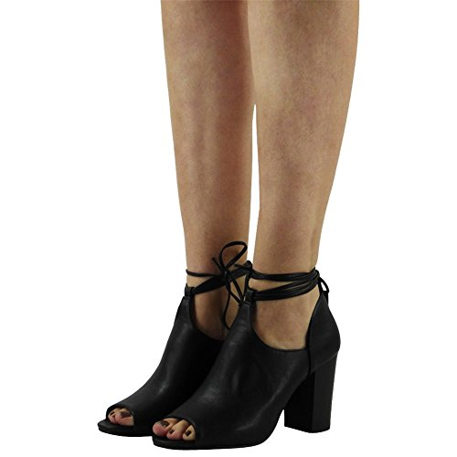 Womens Party Lace Up Peeptoe Sandals Chunky Ladies High Block Heel Shoes Size 3-8 Black Pu ENYOLfo