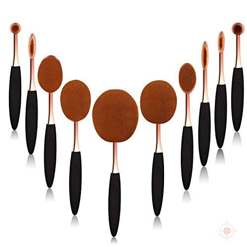 Makeup Brushes,Oval Makeup Brush Set of 10 Pcs Concealer Eyeliner Blending Cosmetic Brushes Tool Set Includ Foundation Brush, Eyebrow Brush, Face Brush, Round Brush, Blush Brush by Real Perfection