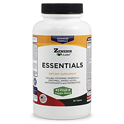 ESSENTIALS - a Natural and Nutrient Rich Multi-Vitamin - w/ Minerals, Enzymes, Amino Acids, Antioxidants and Probiotics - 90ct at INTRODUCTORY PRICE by Zenesis Labs