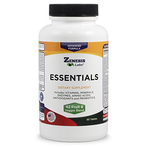 ESSENTIALS - a Natural and Nutrient Rich Multi-Vitamin - w/ Minerals, Enzymes, Amino Acids, Antioxidants and Probiotics - 90ct at INTRODUCTORY PRICE by Zenesis - Mineral Amino Multi Acid