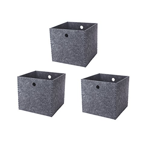 elf Baskets Cubes, 12x12 Office Baskets and Bins for Shelves, Dual Handles, Set of 3, Hard Polyester (Media Storage Ottoman)