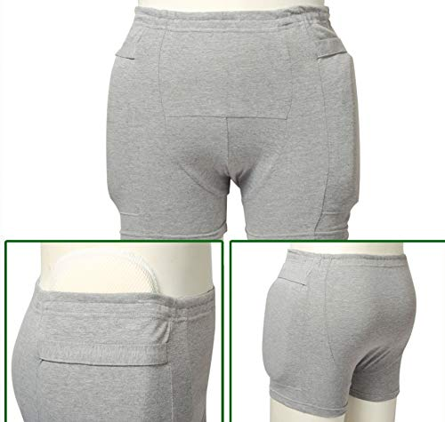 Hip Protection Sponge Padded Short Pants Protective Gear Guard Shorts,Washable Urinary Incontinence Cotton Underwear for Women,XL ()