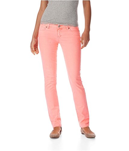 Aeropostale Womens Bayla Low Rise Signature Skinny Fit Jeans, Orange, 11/12