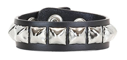 (YDS Accessories Silver Pyramid Stud Quality Leather Wristband Bracelet)