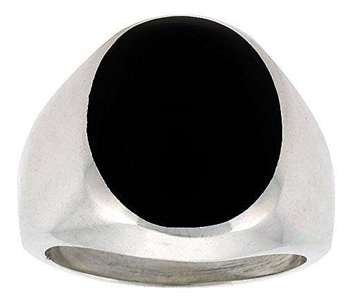 Sterling Silver Black Obsidian Ring for Men Large Oval Domed Solid Back Handmade, size 9