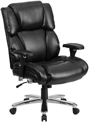 Flash Furniture HERCULES Series 24/7 Intensive Use Big Tall 400 lb. Rated Black LeatherSoft Executive Lumbar Ergonomic Office Chair