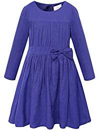 Girls Long Sleeve Solid Pleated A-Line Children Dress With Bow