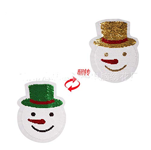 SMALL-CHIPINC - Cartoon snowman Reversible Change color Sequins Sew On Patches for clothes DIY Patch Applique Bag Clothing Coat Sweater - Change Color Snowman