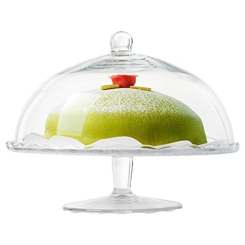 Glass Cake Stand and Glass Dome with Graceful Floral Pattern, (Pattern Glass Cake Stand)