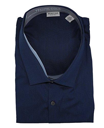 Kenneth Cole Men's Big & Tall Slim Fit Tech Long Sleeve Dress Shirt (Dark Navy, 22 35/36)