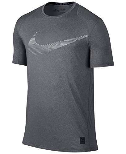 Nike Men's Pro Cool Fitted Logo T-Shirt (Small, Grey)