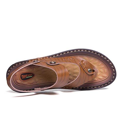Casual Vaca de Piel Gran Caqui los Propósito Deslizador de Sandalias Sandalias de Hombres de Playa Doble de Clip Zapatilla Tamaño de ZYxTw1