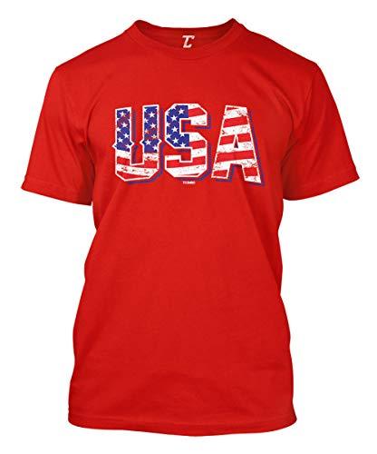 USA - Retro American Flag Stars & Stripes Men's T-Shirt (Red, Small)