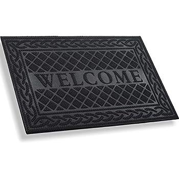 Mibao Entrance Door Mat, Winter Durable Large Heavy Duty Front Outdoor Rug, Non-Slip Welcome Doormat for Entry, Patio 24 x 36 inch, Black