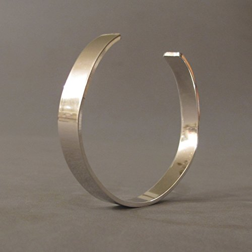 (Handmade Sterling Silver Mens Cuff Bracelet Polished Finish)