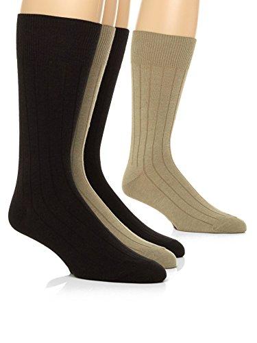 (Calvin Klein Men's 4-Pack Solid Ribbed Dress Crew Socks, Khaki Brown, Large)