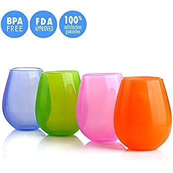 JYPC Unbreakable Silicone Stemless Wine Glasses, 12 oz, 4 Colors (Set of 4)